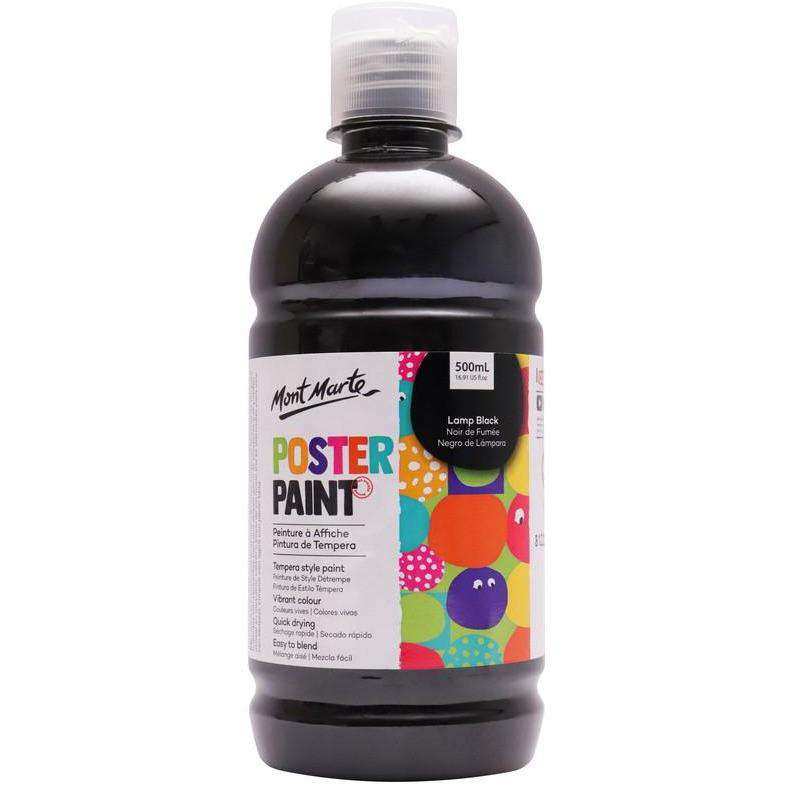 Buy onilne Mont Marte Mont Marte Poster Paint Lamp Black 500ml | Dollars and Sense cheap and low prices in australia