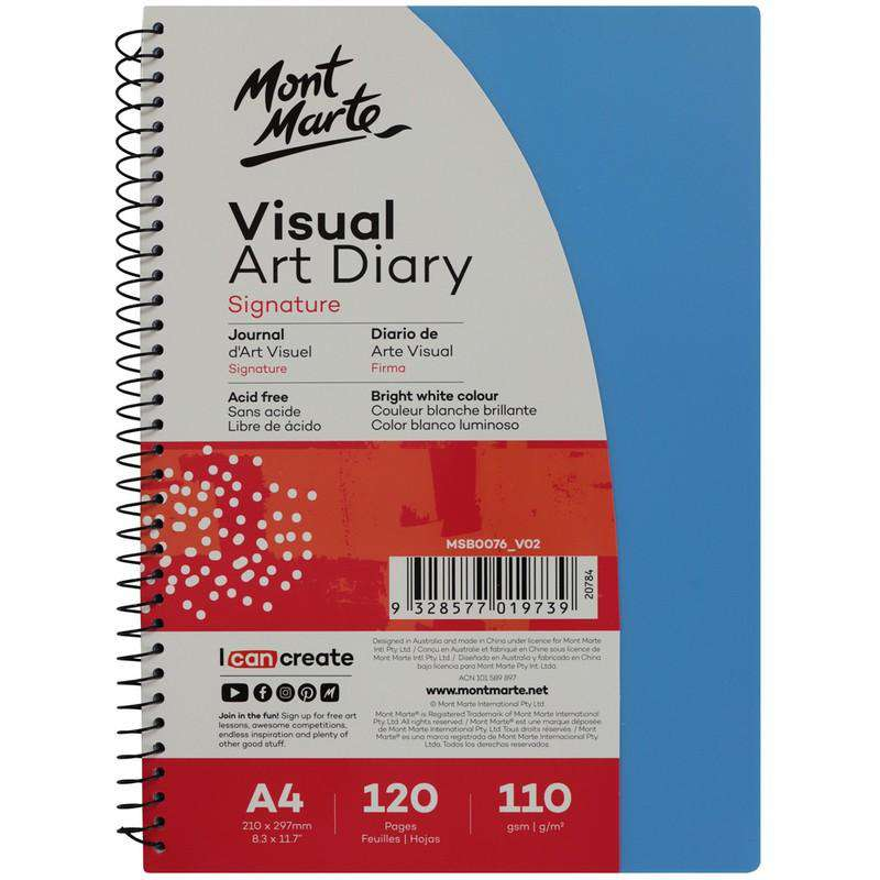 Signature Visual Art Diary PP Coloured Cover 110gsm A4 120 Page