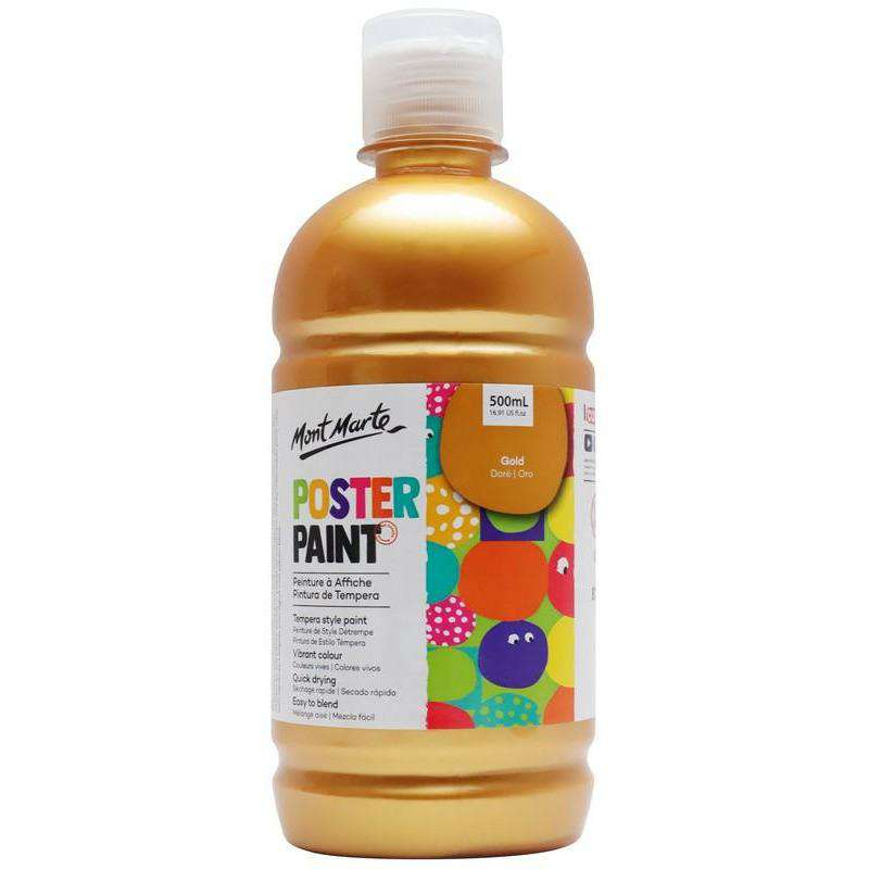 Buy onilne Mont Marte Poster Paint 500ml (16.91oz) - Gold | Dollars and Sense cheap and low prices in australia