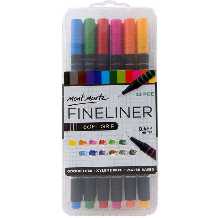 Buy onilne Mont Marte Fineliner Marker Soft Grip 12pce | Dollars and Sense cheap and low prices in australia