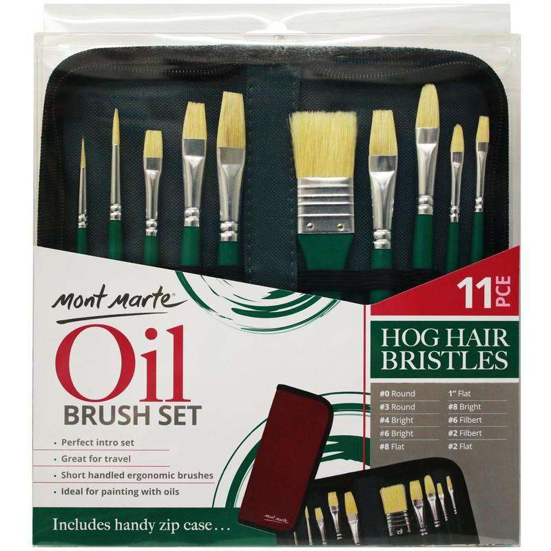 Mont Marte Hog Hair Bristles Brush Set For Oil in Wallet 11pcs