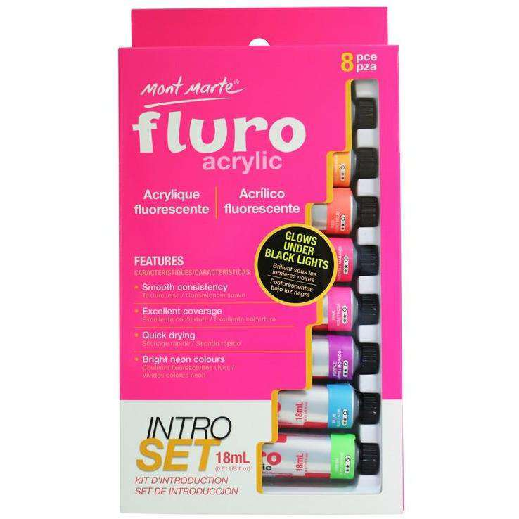 Buy onilne Mont Marte Fluro Acrylic Paint Intro Set 8 Piece | Dollars and Sense cheap and low prices in australia