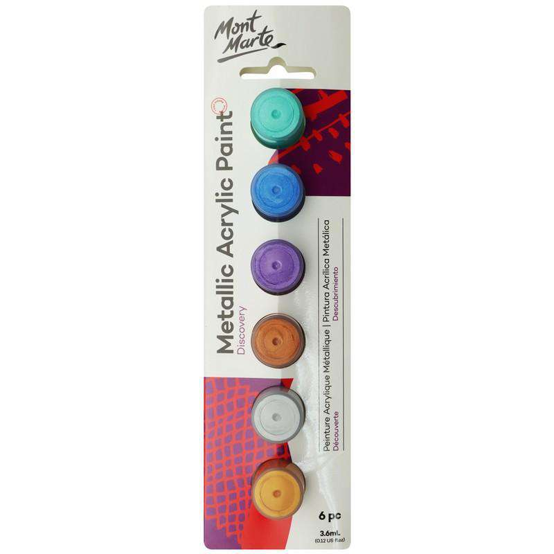 Mont Marte 3.6ml Metallic Acrylic Paints 6pcs