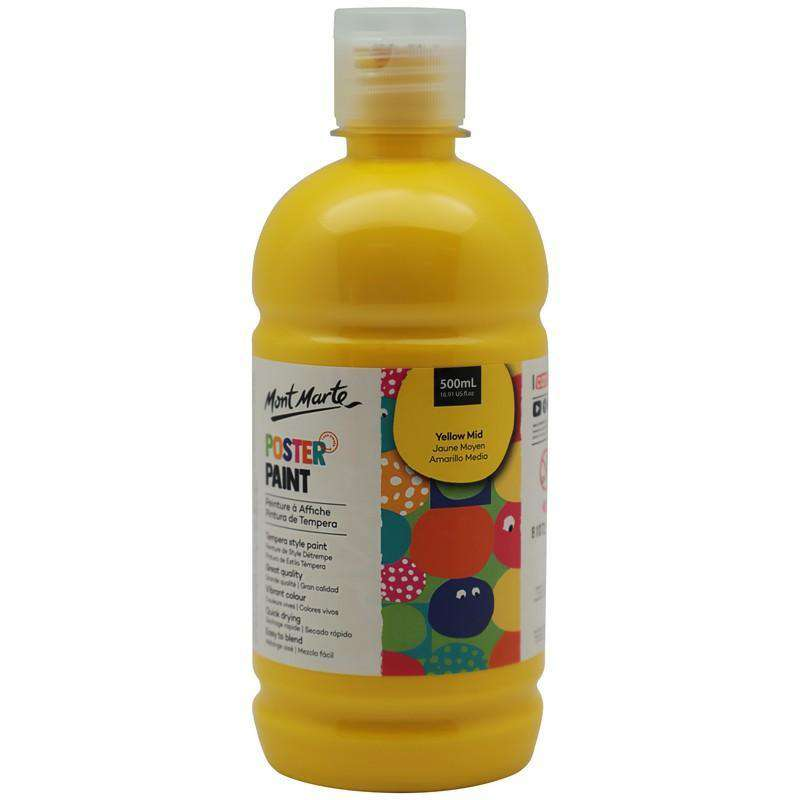 Buy onilne Mont Marte Poster Paint 500ml (16.91oz) - Yellow Mid | Dollars and Sense cheap and low prices in australia