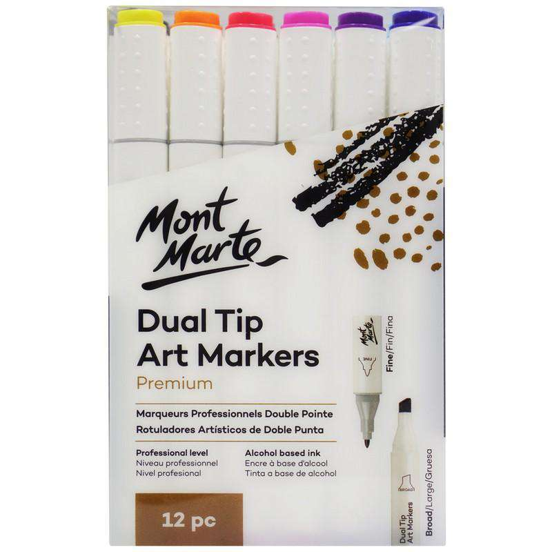 Buy onilne Mont Marte Premium Art Markers Dual Tip 12pc | Dollars and Sense cheap and low prices in australia