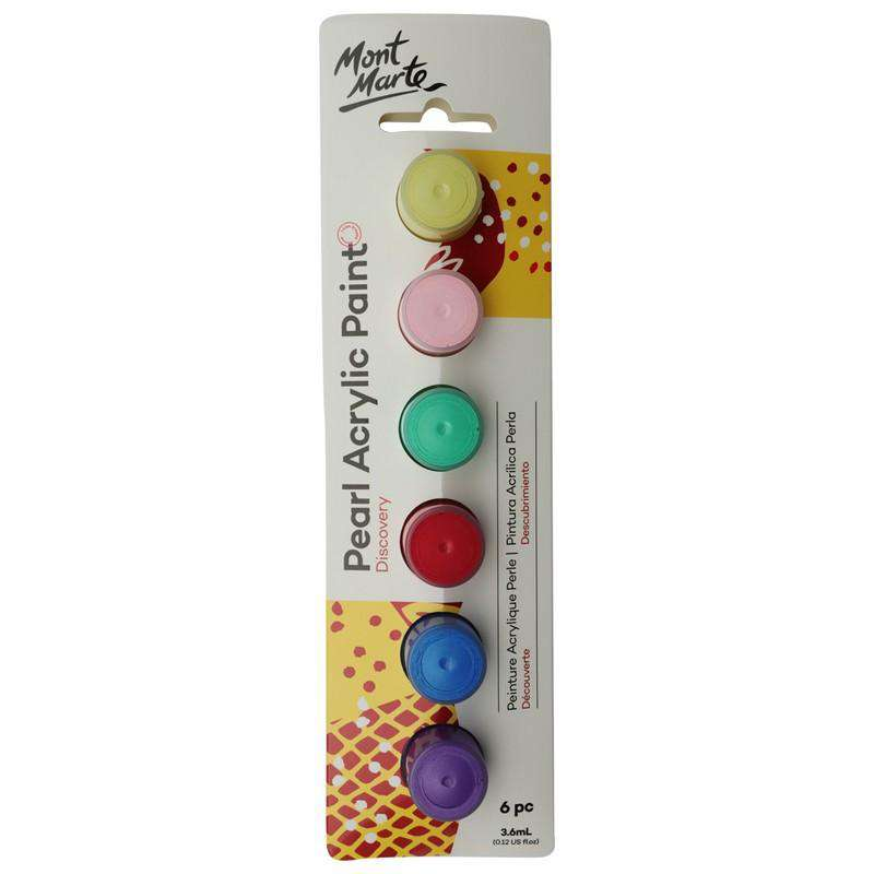 Buy onilne Mont Marte Mont Marte 3.6ml Pearl Paints 6pcs | Dollars and Sense cheap and low prices in australia