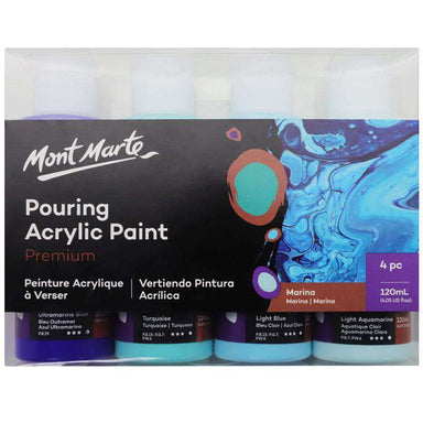 Buy onilne Mont Marte Premium Pouring Acrylic Paint 120ml 4pc Set - Marina | Dollars and Sense cheap and low prices in australia