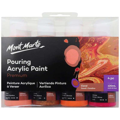 Buy onilne Mont Marte Premium Pouring Acrylic Paint 120ml 4pc Set - Coral | Dollars and Sense cheap and low prices in australia