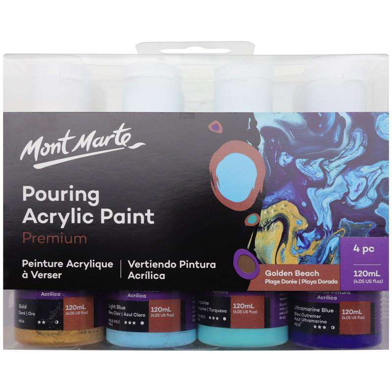 Buy onilne Mont Marte Premium Pouring Acrylic Paint 120ml 4pc Set - Golden Beach | Dollars and Sense cheap and low prices in australia