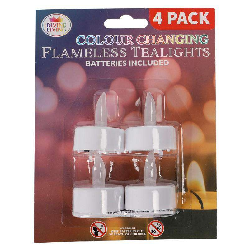 Colour Changing Flameless Tealights 4 Pk