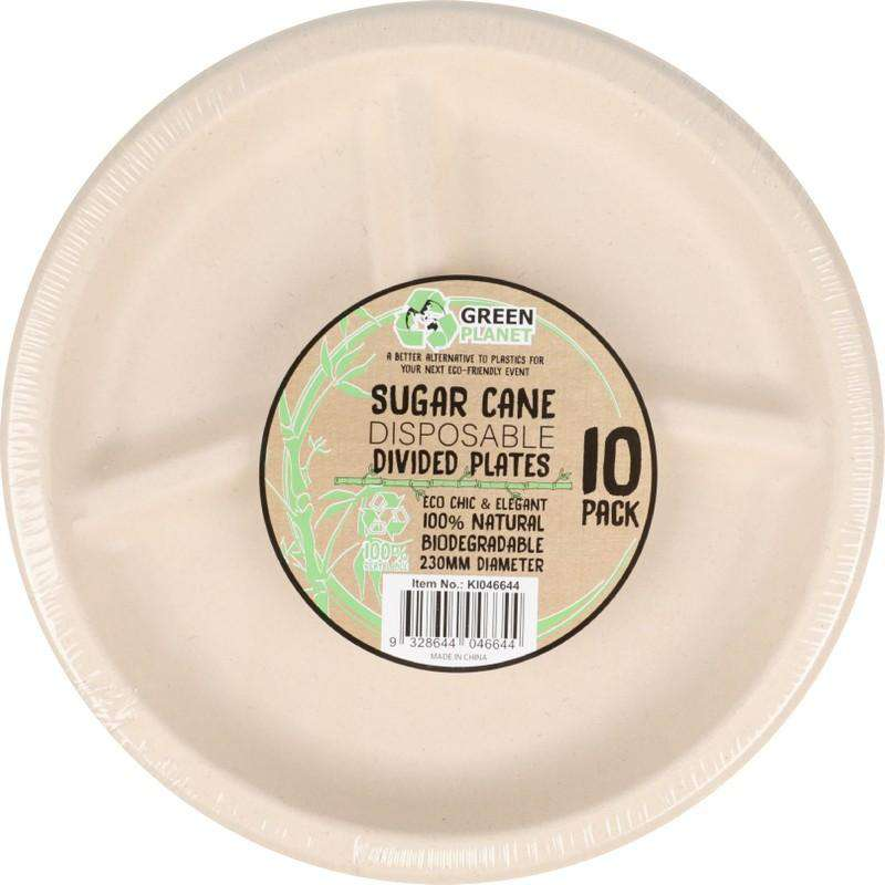 Sugar Cane Party Disposable Dinner Plates 3 Divisions 10 Pack