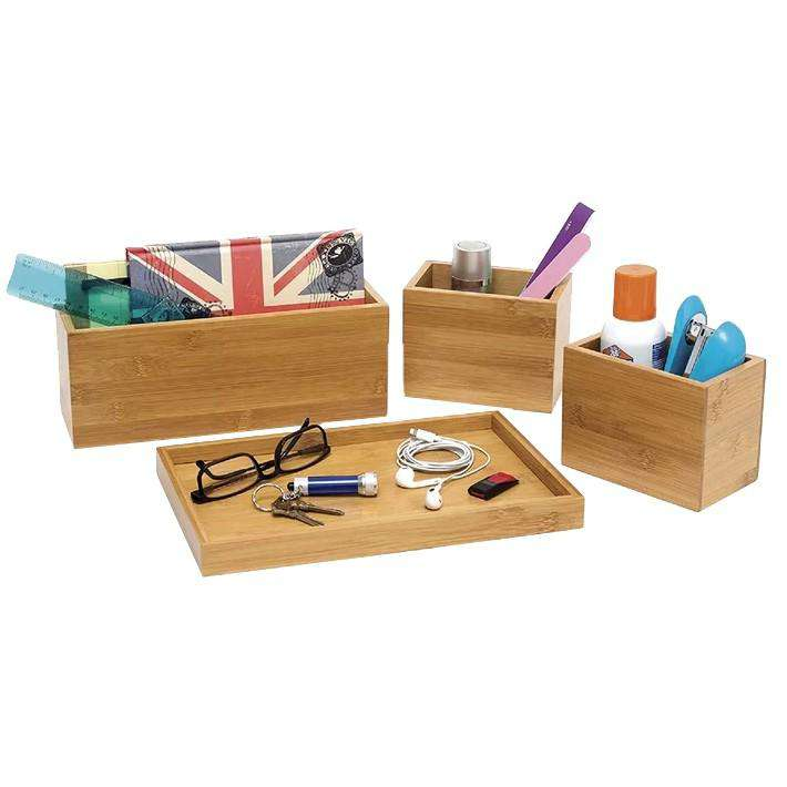 Bamboo Home Organiser Set 4 Pcs