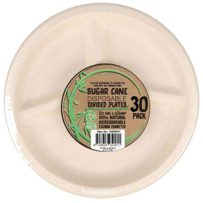 Sugar Cane Party Disposable Dinner Plates 3 Divisions 30 Pack