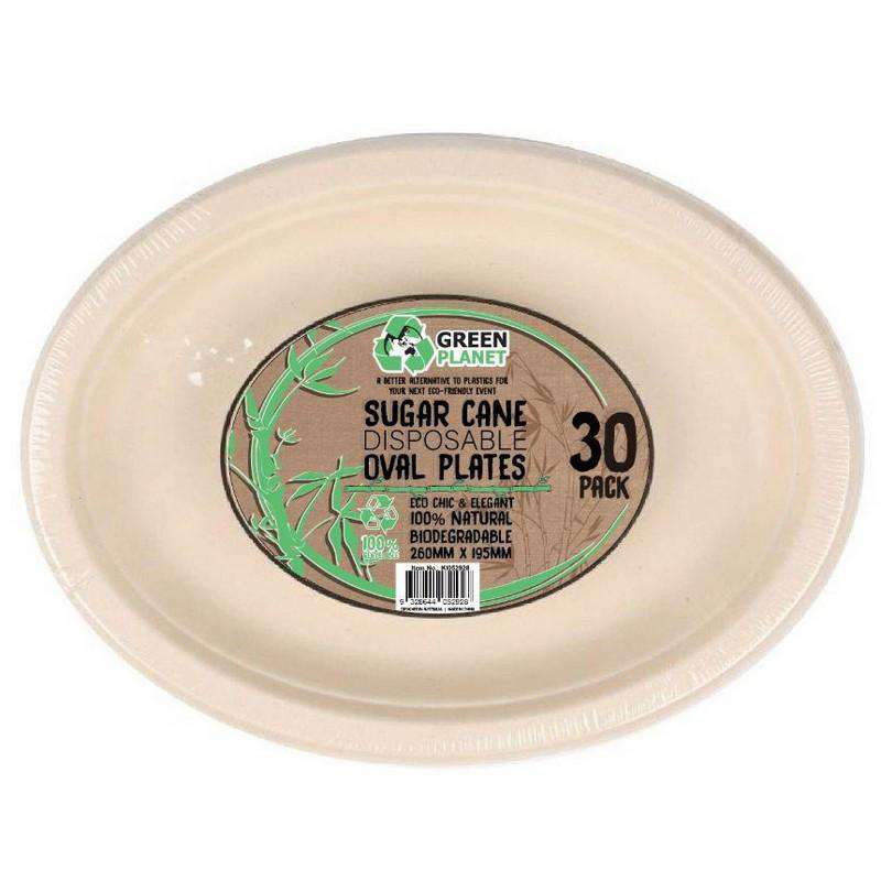 Sugar Cane Party Disposable Oval Plates 30 Pack