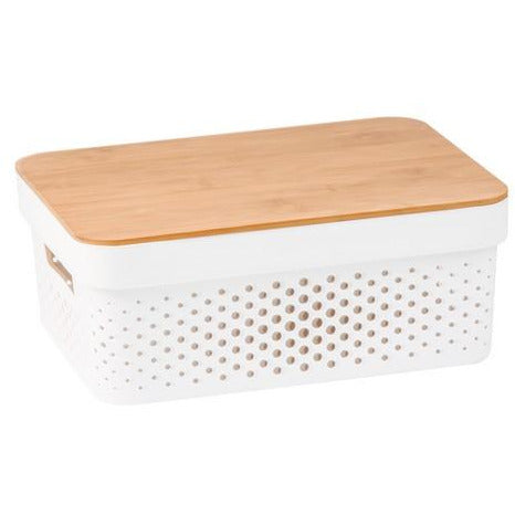 Plastic Basket with Bamboo Lid 10L
