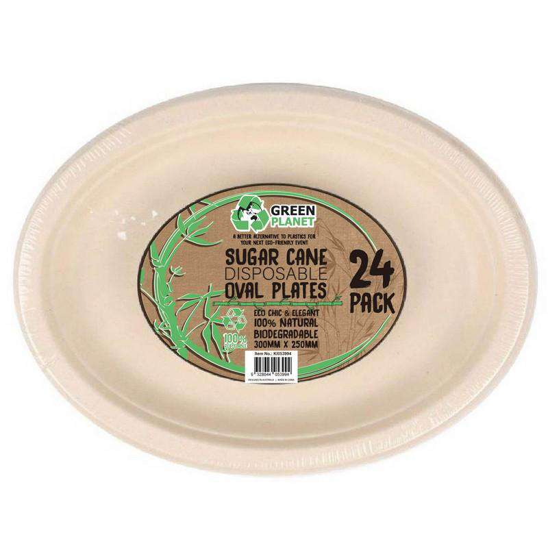 Sugar Cane Party Disposable Oval Plates 24 Pack
