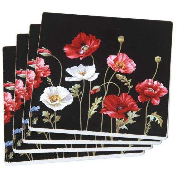Poppies on Black Coaster Set 4pcs 10 cm