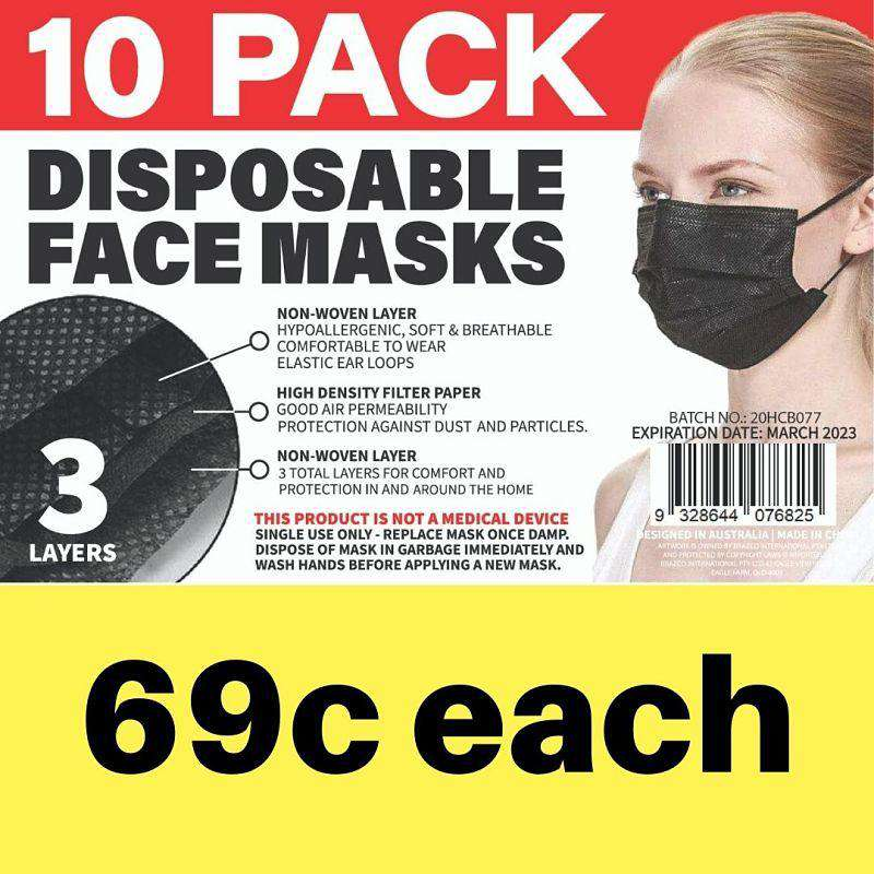 Disposable Adult Face Mask Black 10 PK
