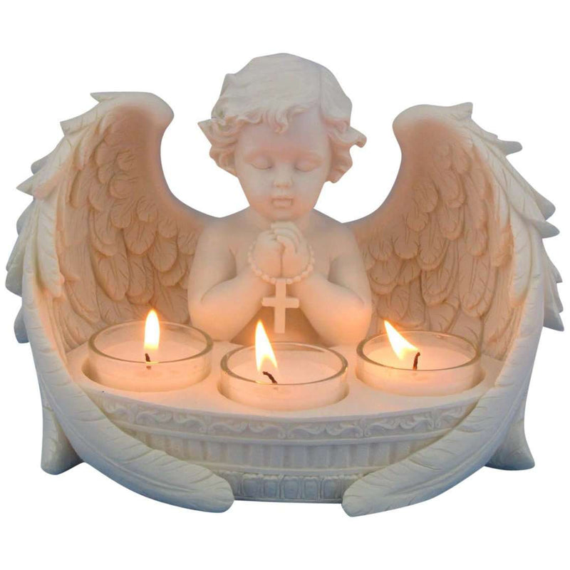 Praying Cherub with 3 Tealight Candle Holder 21cm
