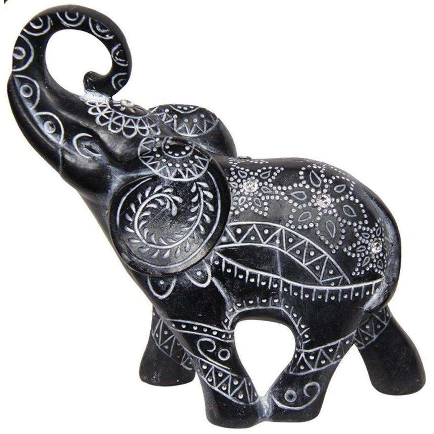Black Elephant Boho Tribal Finish 17cm