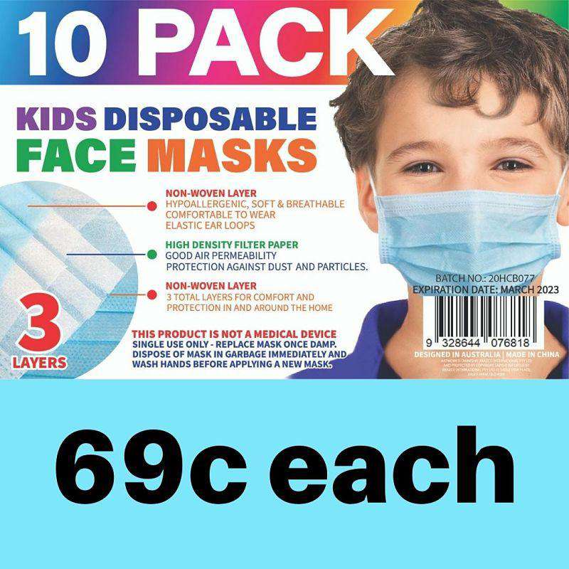 Disposable Kids Face Mask White & Blue 10 PK