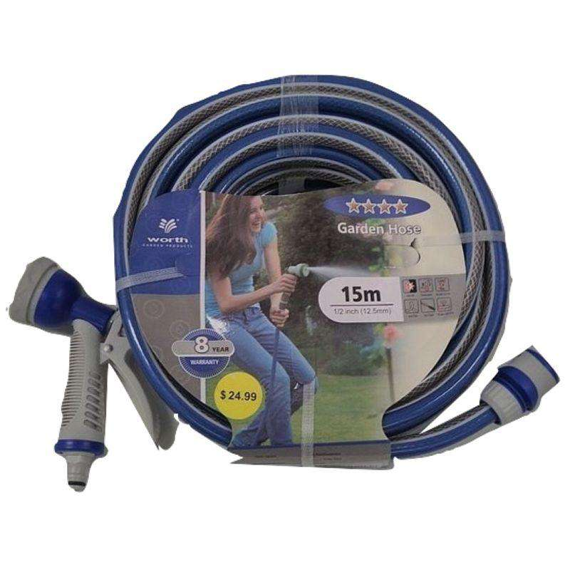 Garden Hose Blue With Trigger - 15m 1/2 inch 12.5mm
