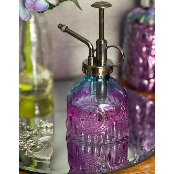 Coloured Glass Bathroom Liquid Dispenser Purple