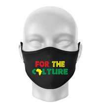 Load image into Gallery viewer, FOR THE CULTURE Reusable Black Face Mask