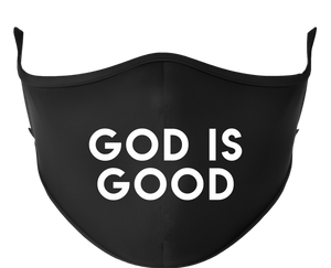 GOD IS GOOD Reusable Black Face Mask