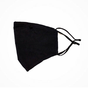 Reusable Plain Black Face Mask with adjustable ear loops
