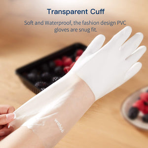 WG01丨 PVC Household Gloves, Semi-Transparent Cuff Designed, One Pair
