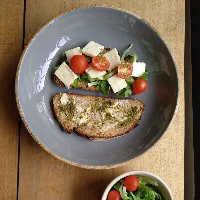 Customer Pairing: Sourdough, parmesan, oak leaf lettuce and cherry tomatoes