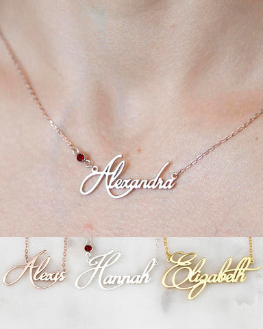 Personalized Name Necklace with Birthstone Accent - HadyaTrends