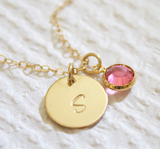 Customized Initial Necklace with Birthstone Accent - HadyaTrends