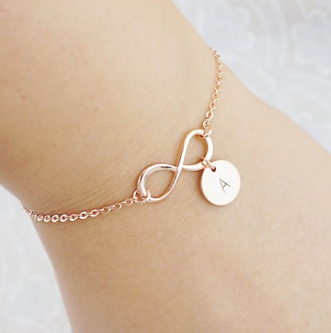 Customized Initial Bracelet with Infinity Design - HadyaTrends
