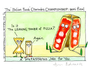 """Leaning tower of Pizza""  Original ink and watercolour painting"