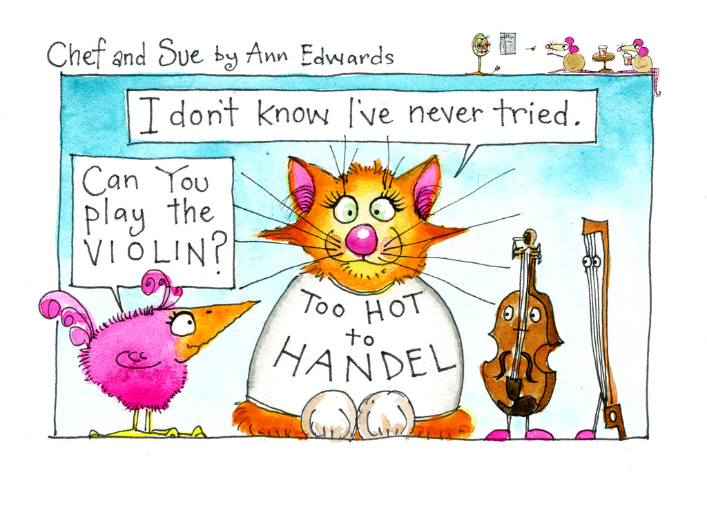 """Too Hot to Handel"" original Chef and Sue watercolour illustration"