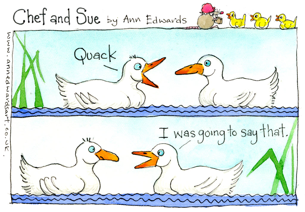 """Quack"" original watercolour painting by Ann Edwards."