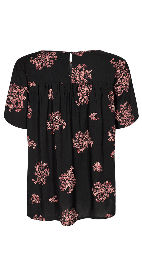 Sort bluse med rosa blomsterprint