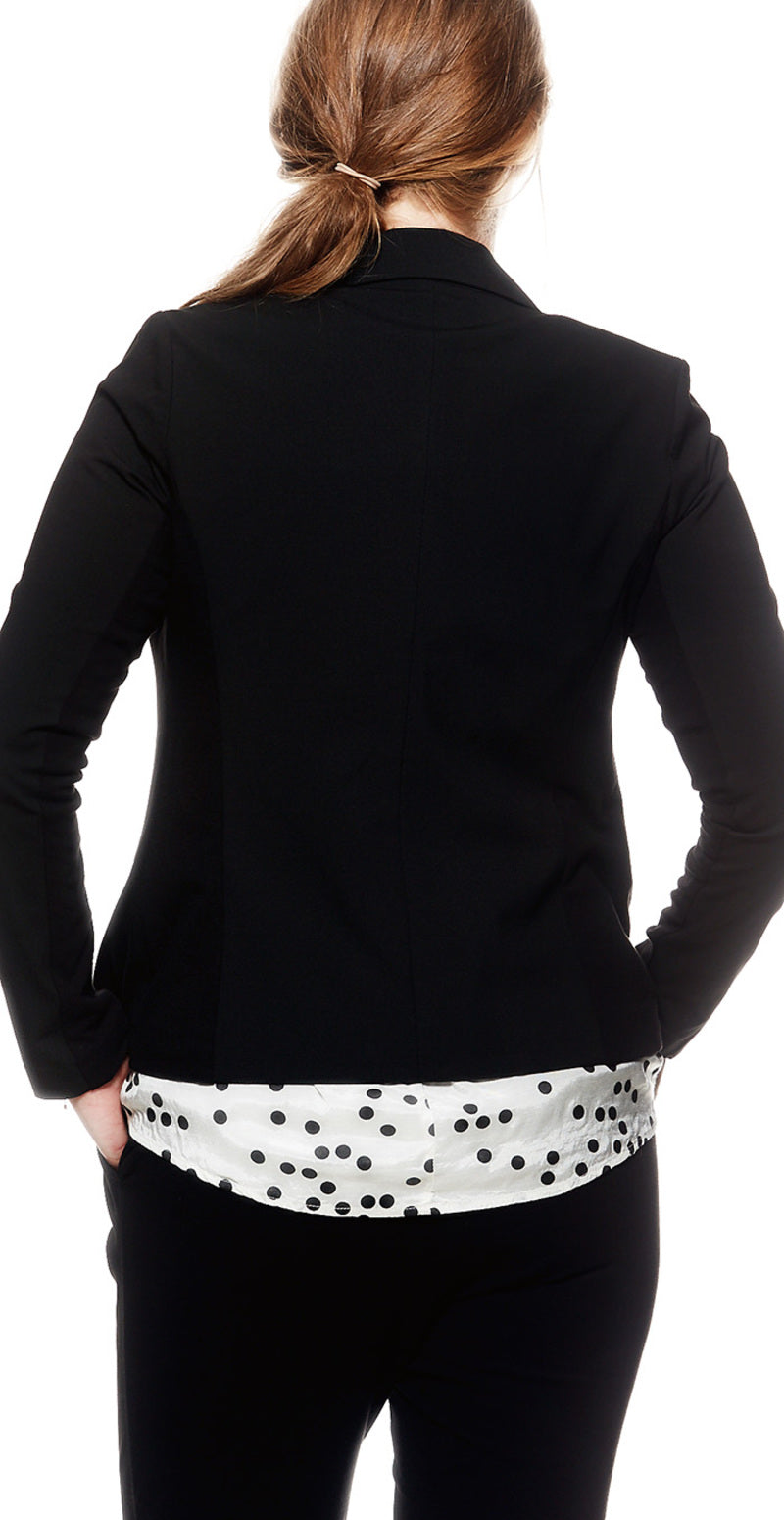 Sort jillian luxus blazer med foer (4502466134097)