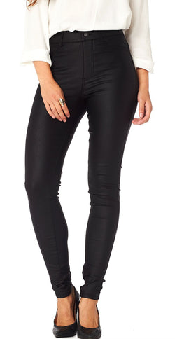 SORT LÆDERLOOK STRETCH JEGGINGS (4502765633617)