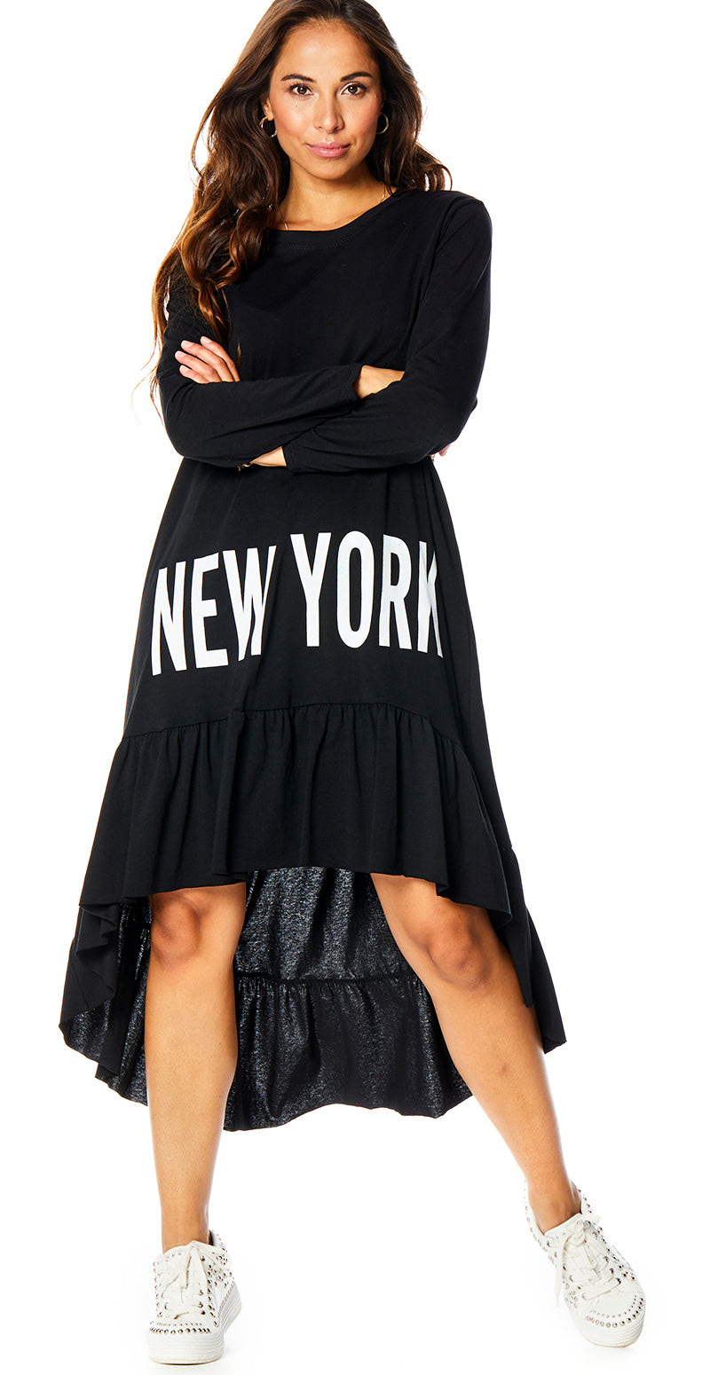 Sort New York kjole med peplum