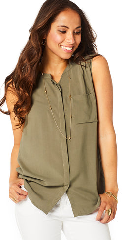 Khaki top med knapper
