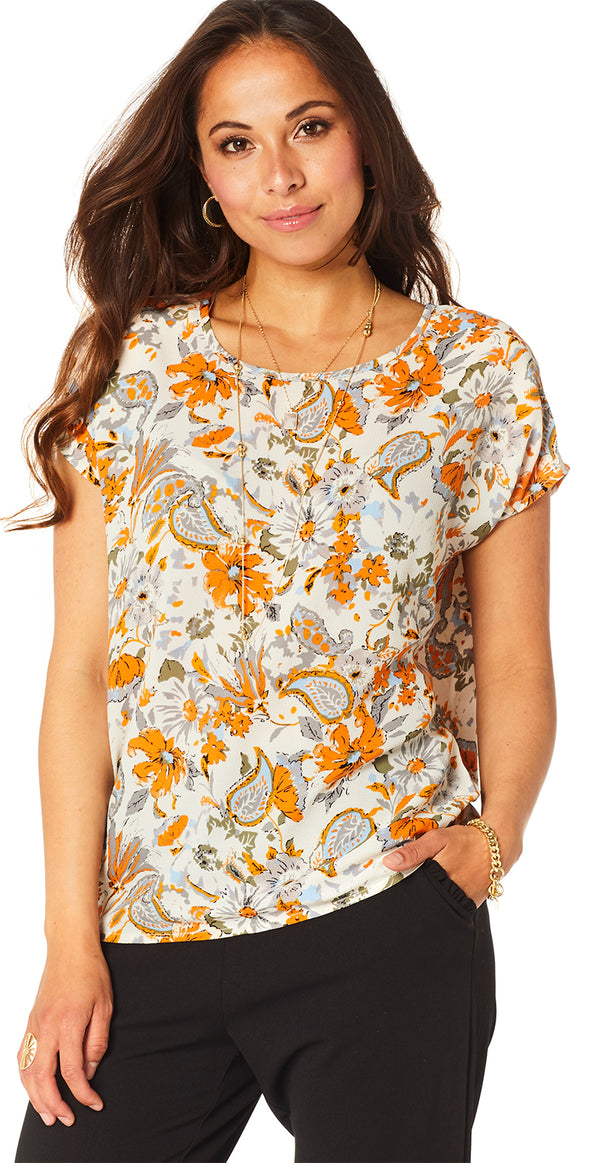 Orange bluse med blomsterprint