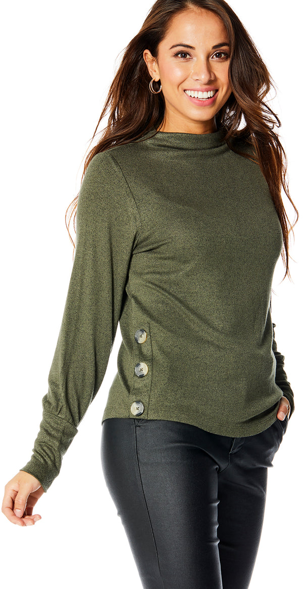 Olive night melange pullover med knapper