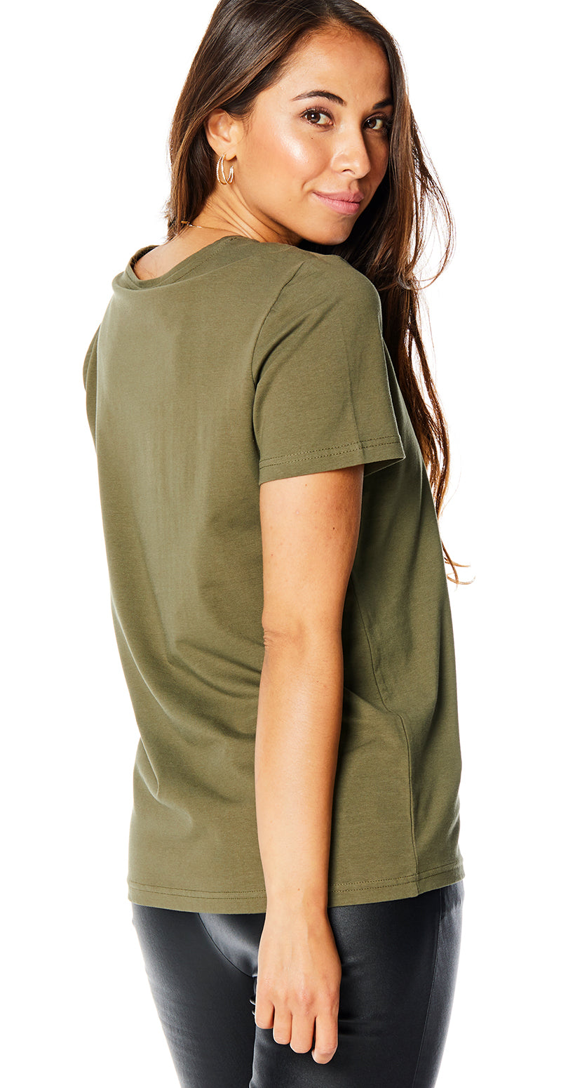 Olive night t-shirt med print