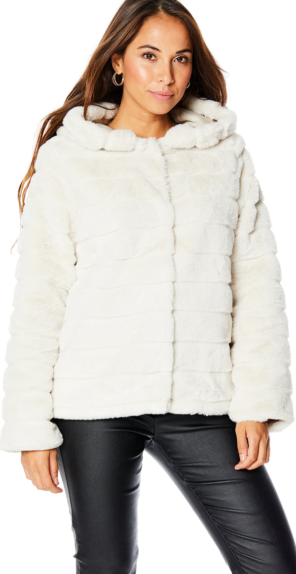 Moonbeam/off white faux fur med hætte