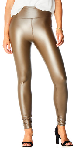Brun læderlook leggings