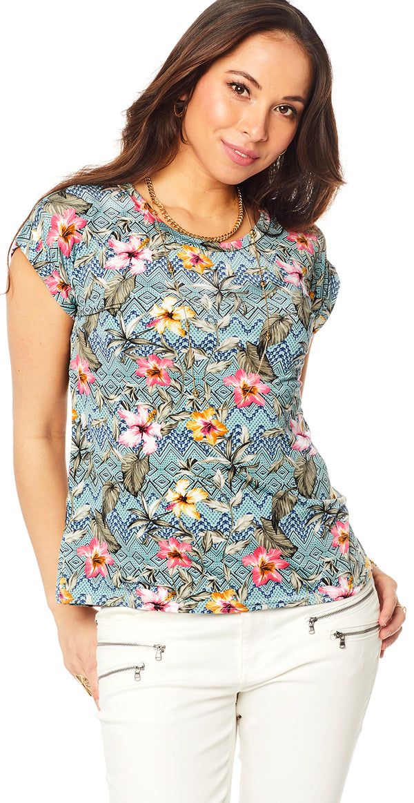 Turkis bluse med Hawaii blomster