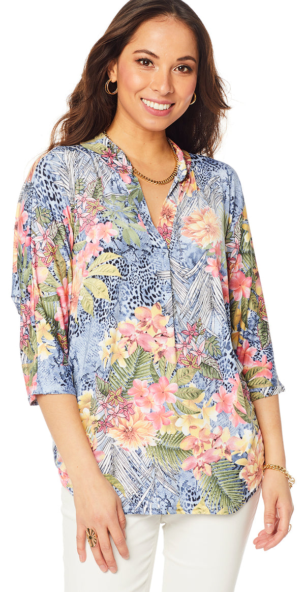 Navy bluse med hawaii print